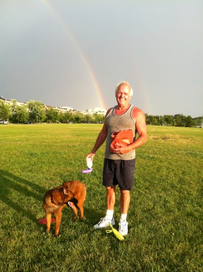 Because the dog and the Viking man weren't enough, there's also a rainbow.